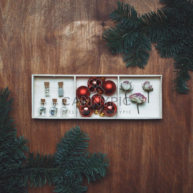 Christmas balls, dry roses and fir branches - Free image #327347