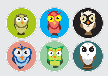 Colorful Barn Owl Stickers - vector gratuit #327467