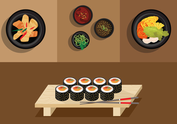 Vector Gimbap Korean Food - vector #327667 gratis