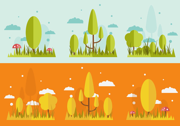 FREE GRASS AND TREES VECTOR - Free vector #327687
