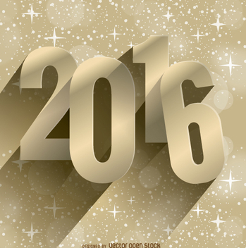 2016 New Year Golden Background - vector gratuit #327717