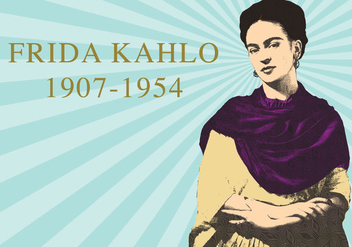 Frida Khalo Woodcut - Free vector #327987
