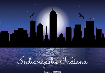 Indianapolis Night Skyline Illustration - бесплатный vector #328007
