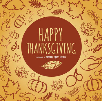 Happy Thanksgiving doodles - Free vector #328017