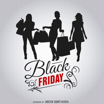 Black Friday shopping women silhouettes - Free vector #328027