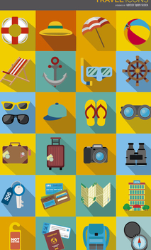 Travel Icons colorful drop shadow - Free vector #328357