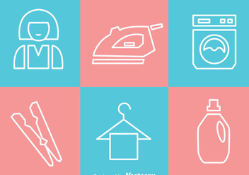 Laundry White Outline Icons - vector #328767 gratis