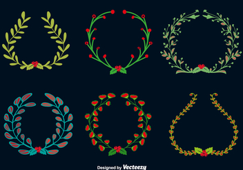 Doodle christmas round wreaths - vector #328807 gratis