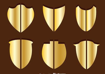 Gold Shield Shape Vectors - Free vector #328917