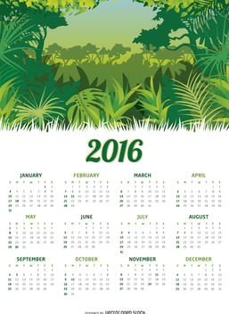Jungle 2016 calendar - vector #328967 gratis