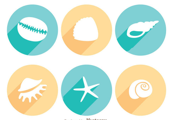Starfish And Shell Long Shadow icons - Free vector #329347