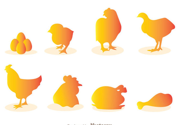 Chicken Silhouette Vectors - бесплатный vector #329377