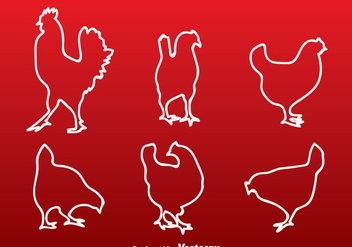 Chicken White Line Silhouette - Free vector #329407