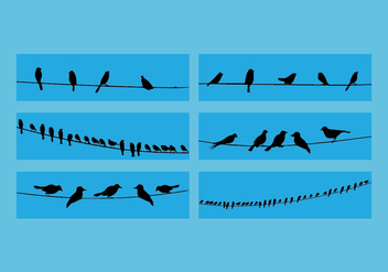 Birds On Wire Vector Set - Kostenloses vector #329457