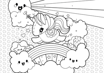 Rainbow Unicorn Scene Coloring Page - Free vector #329547