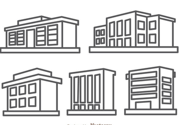 Townhomes Outline Isolated - Free vector #329717
