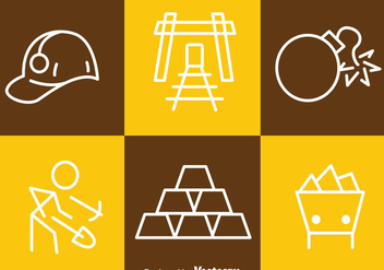 Gold Mine Tin Outline Icons - vector gratuit #329747