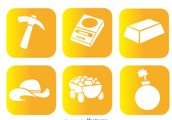Gold Mine White Icons - vector gratuit #329757