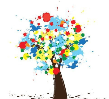 Colorful Paint Splashed Tree - vector gratuit #329847