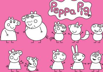Peppa Pig Coloring - vector gratuit #330067