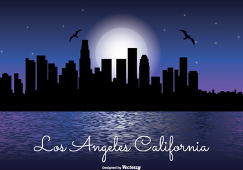 Los Angeles Night Skyline Illustration - Kostenloses vector #330127