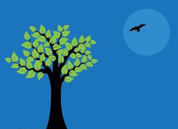 Flying Bird Tree Night Sky - vector gratuit #330627
