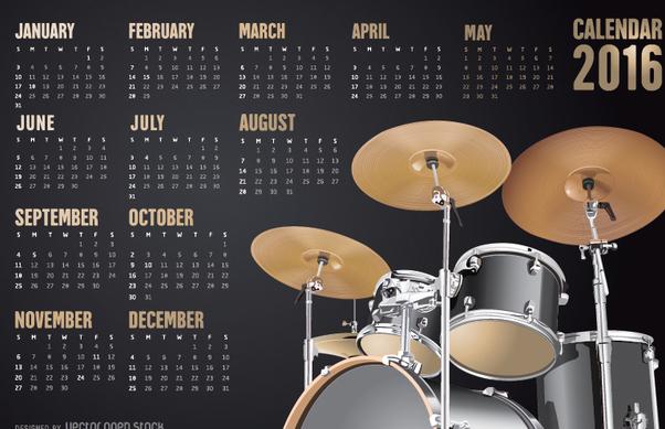schlagzeug kalender 2016 kostenloser vektor download 330817 cannypic. Black Bedroom Furniture Sets. Home Design Ideas