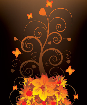 Blooming Swirls with Butterflies - vector gratuit #330837