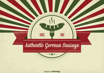 Retro Style German Sausage Illustration - Free vector #331477