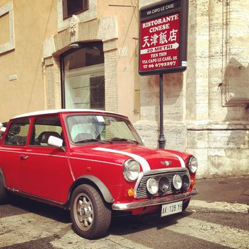 Red Mini Cooper in the street - image gratuit #331957