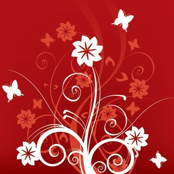 Red White Swirls Butterfly Background - Free vector #332407