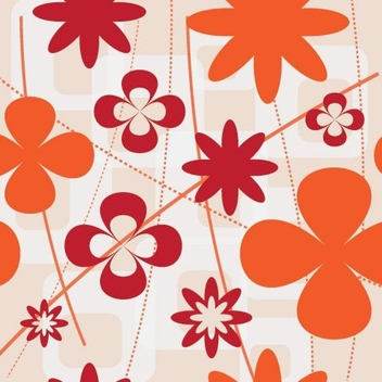 Flat Red Orange Floral Wallpaper - vector gratuit #332427