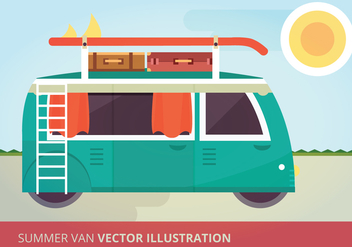 Summer Van Vector Illustration - vector gratuit #332577