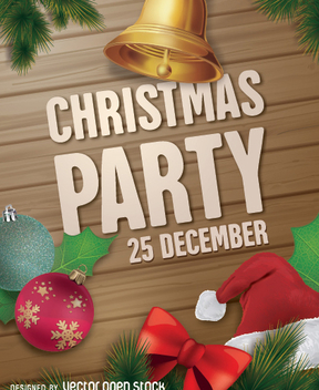 Christmas party poster - Free vector #332717