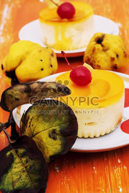 Cake with jelly on the wooden table with pears - image gratuit #332777