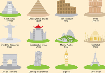 Wonders Of The World Vector Icons - Free vector #332977
