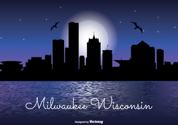 Milwaukee Night Skyline - бесплатный vector #333377