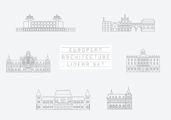 Free Vector Collection of Linear Icons and Illustrations with Buildings - Free vector #333507