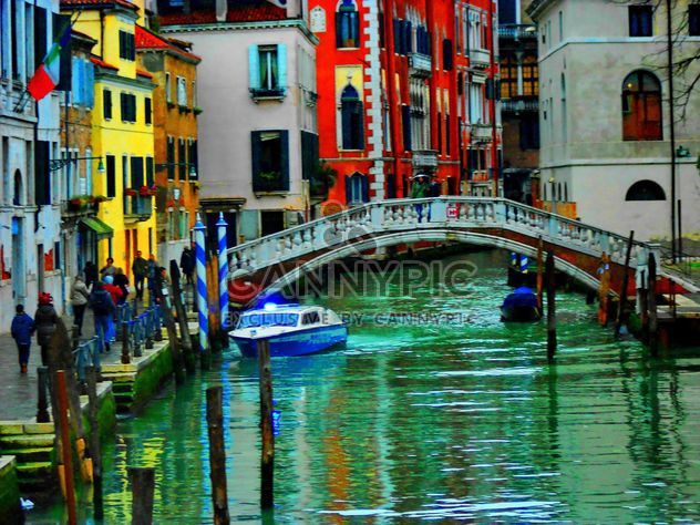 Gondolas on canal in Venice - Free image #333677