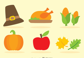 Thanksgiving Flat Icons - vector #333837 gratis