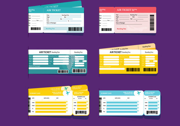 Airlines Ticket Vektoren - Kostenloses vector #333887