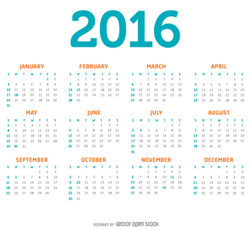 Simple 2016 calendar - vector gratuit #334337