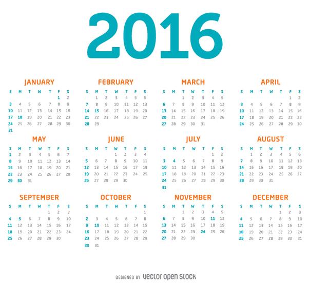 einfache 2016 kalender kostenloser vektor download 334337 cannypic. Black Bedroom Furniture Sets. Home Design Ideas
