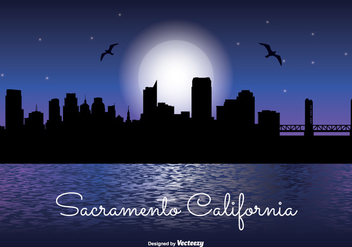 Sacramento Night Skyline Illustration - vector gratuit #334597