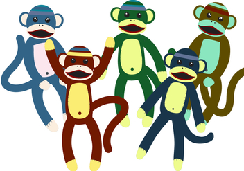 Sock Monkey Toy Vectors - Free vector #334607