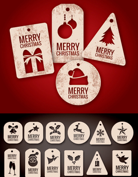 Christmas tags and labels - Free vector #334657