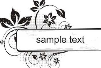 Black White Grungy Floral Banner - Free vector #334667