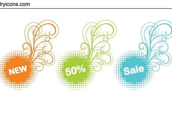 Halftone Swirls Sale Tag Set - vector gratuit #334907