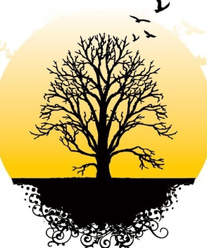 Tree Silhouette Landscape with Sun - vector gratuit #335147