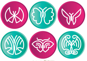 Butterfly Circle Icons - Free vector #335377